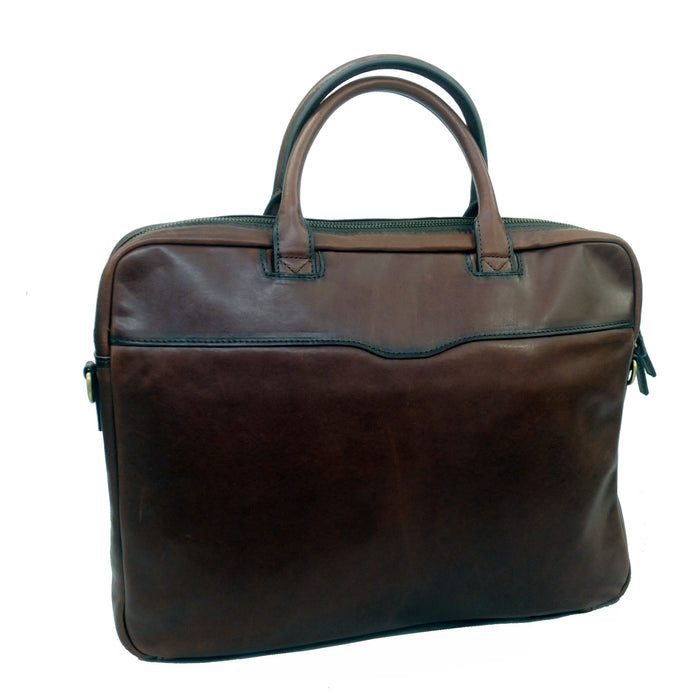 Touro Signature Leather Slim Laptop Brief - Cognac