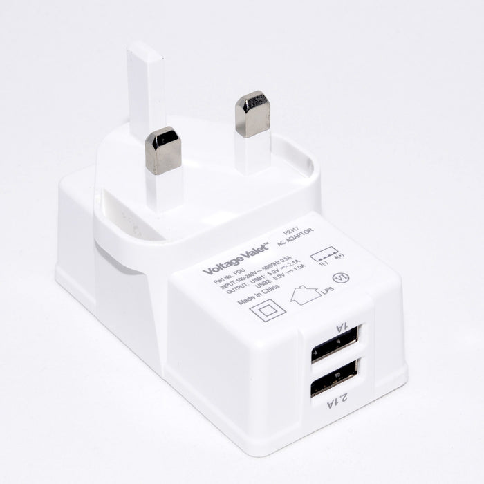 Voltage Valet Adaptor Plug With 2 Port USB - PDU | United Kingdom / Ireland / Hong Kong