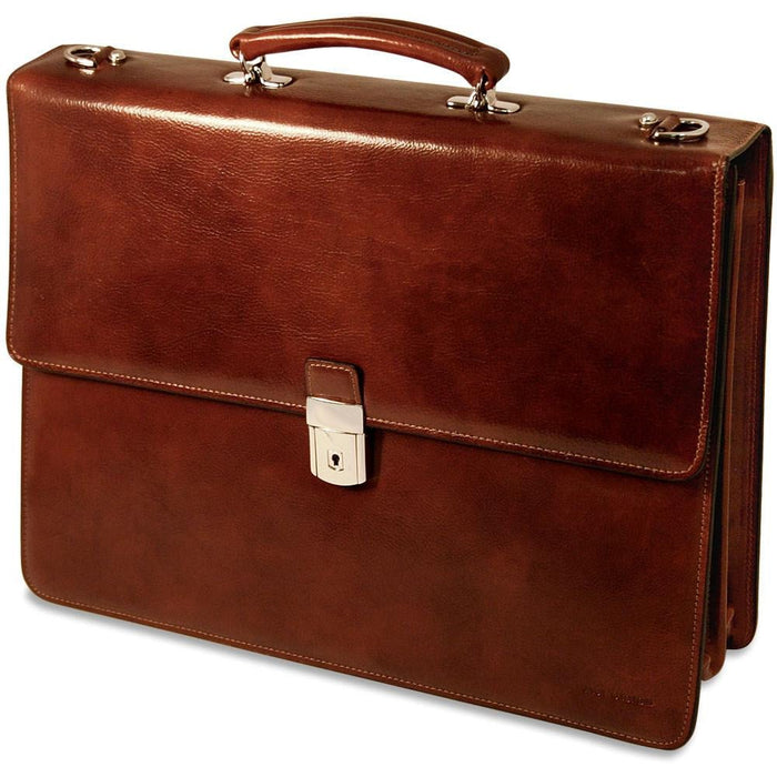 Jack Georges Sienna Double Gusset Flap Over With Key Lock