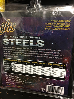 GHS infinity steels Bass Strings.