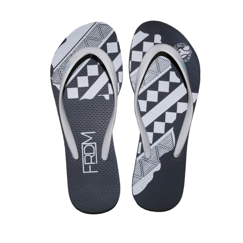 White Africa Grey Flip Flops (Ladies)
