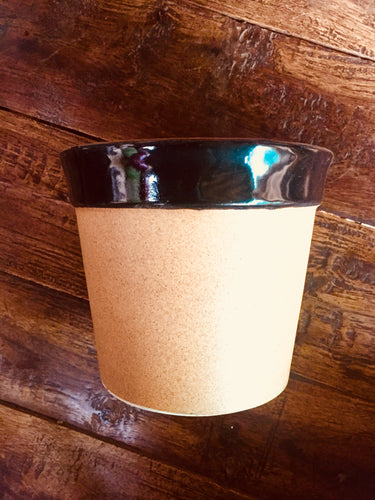 Cylindrical Tapered pot (with black neck)