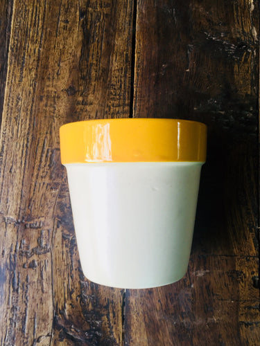 Tapered Cylindrical Pot with Yellow Neck