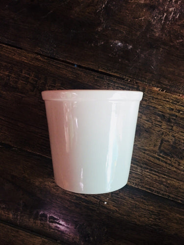 Plain White Tapered Cylindrical Pot (Small)