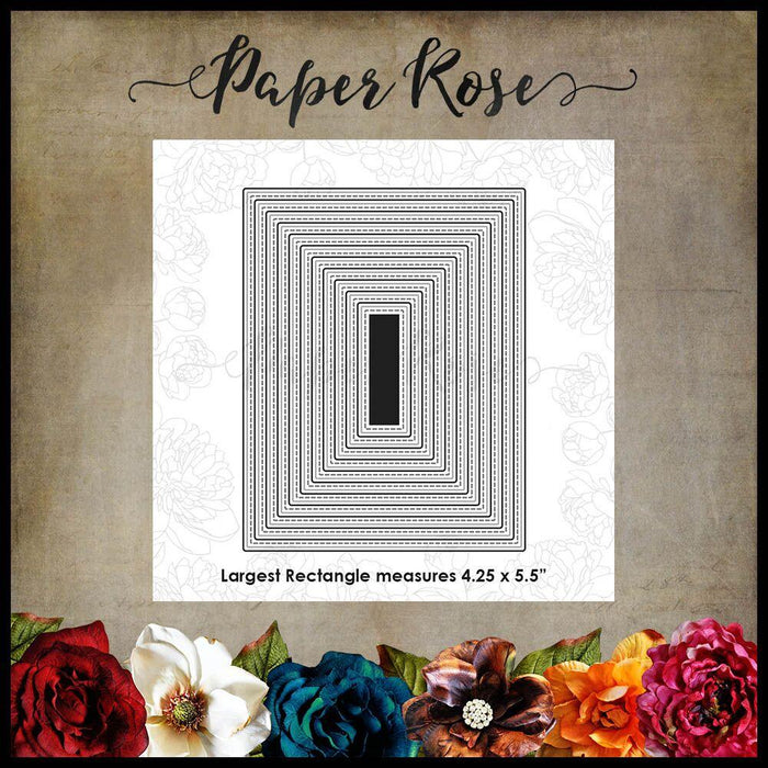 PAPER ROSE DIE  STITCHED RECTANGLES  USA