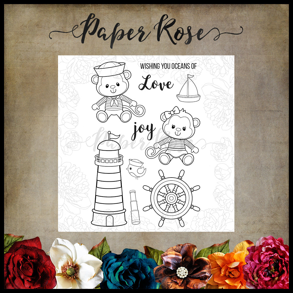 PAPER ROSE  STAMPS MONKEY LOVE