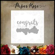 PAPER ROSE DIE  LAYERED  CONGRATS