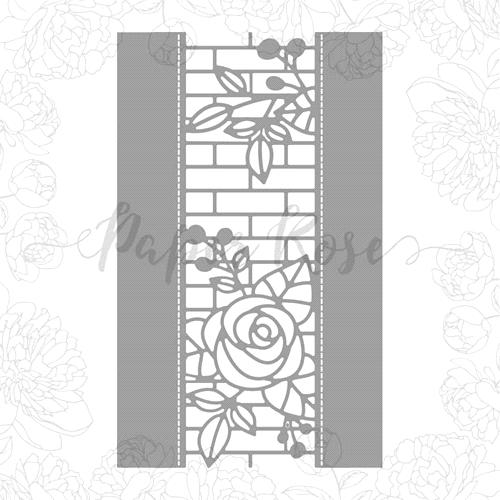 PAPER ROSE DIE  ELLAS GARDEN ROSE AND BRICK BORDER