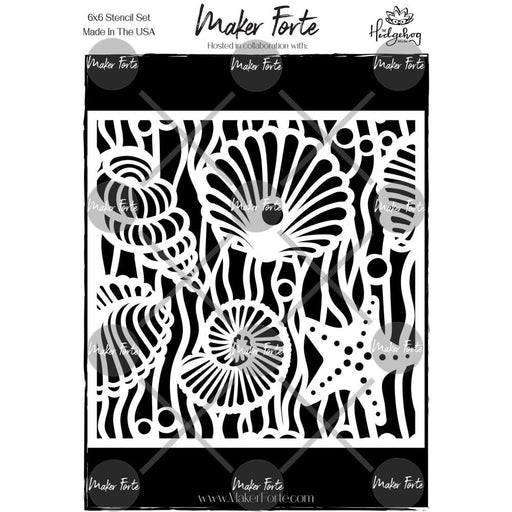 MAKER FORTE STENCIL  6 X 6 INCH 3D SEA SHELLS