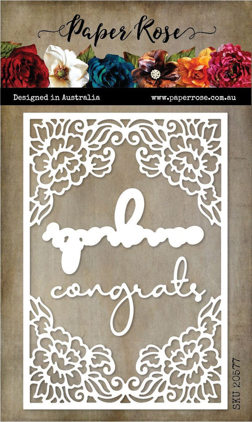 PAPER ROSE DIE CONGRATS DECORATIVE FRAME