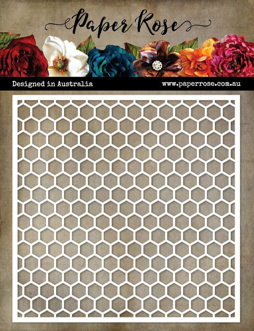 PAPER ROSE STENCIL HONEYCOMB BACKGROUND