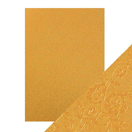 TONIC CRAFT PERFECT  A4 EMBOSSED CARD 5PK HONEY GOLD ROSES