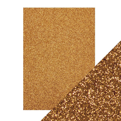 TONIC CRAFT PERFECT  A4 GLITTER CARD 5PK  WELSH GOLD