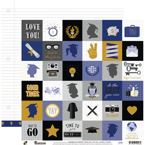AMERICAN  CRAFT 12 X12 PAPER GRADUATION GRAD ICONS