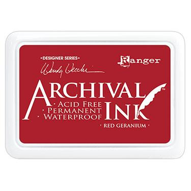 ARCHIVAL INK STAMP PAD RED  GERANIUM