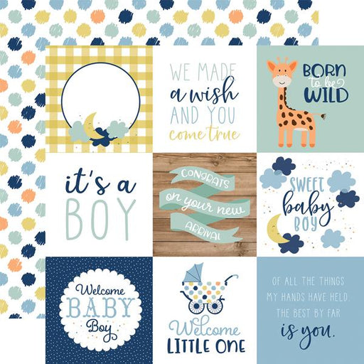 ECHO PARK 12X12  PAPER BABY BOY   JOURNALING CARDS 4 X 4