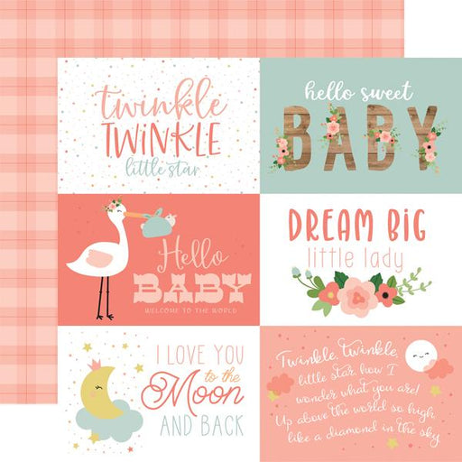 ECHO PARK 12X12  PAPER BABY GIRL JOURNALING CARDS  6 X 4