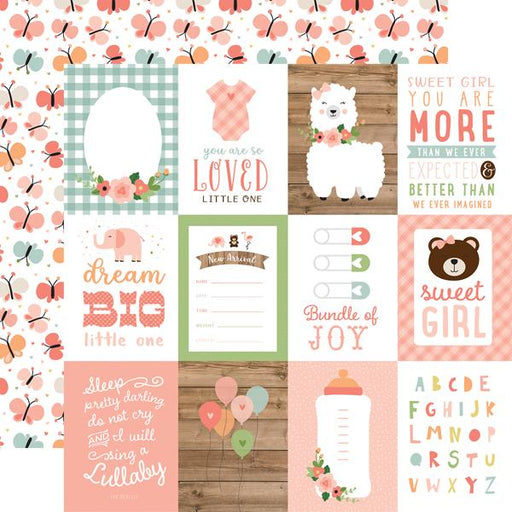 ECHO PARK 12X12  PAPER BABY GIRL JOURNALING CARDS 3 X 4