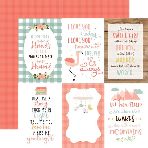 ECHO PARK 12X12  PAPER BABY GIRL JOURNALING CARDS  4 X 6