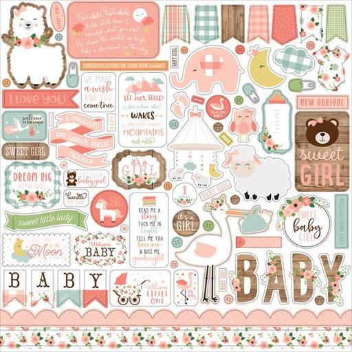 ECHO PARK 12X12  PAPER BABY GIRL ELEMENT STICKERS