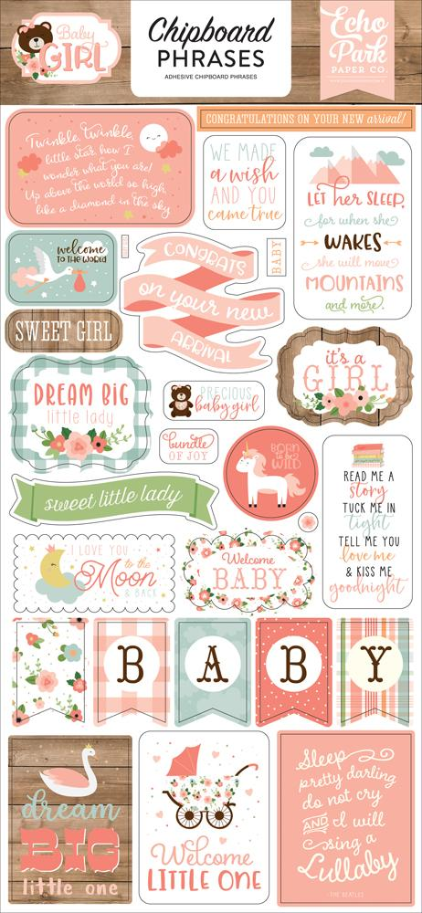 ECHO PARK  BABY GIRL  CHIPBOARD PHRASES