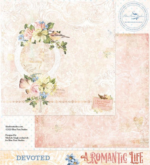 BLUEFERN STUDIO 12 X 12 PAPER  ROMANTIC LIFE  DEVOTED