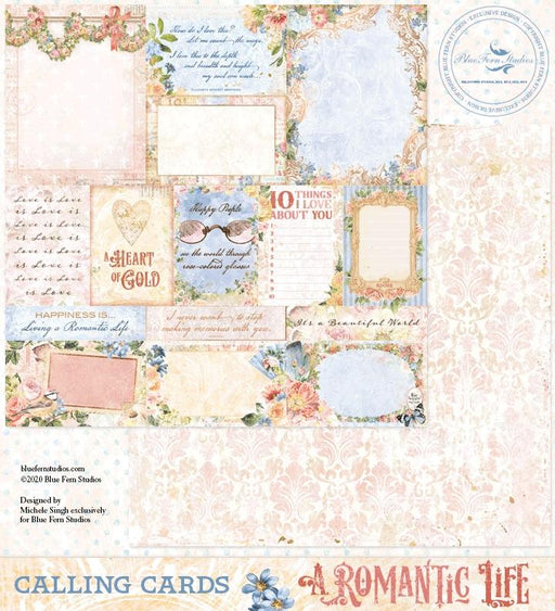 BLUEFERN STUDIO 12 X 12 PAPER  ROMANTIC LIFE CALLING CARDS