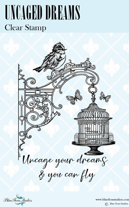 BLUEFERN STUDIO STAMP BIRD WALTZ UNCAGED DREAMS
