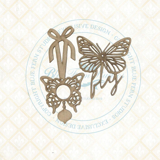 BLUEFERN STUDIO  BIRD SONG CHIPBOARD BUTTERFLY CHARMS