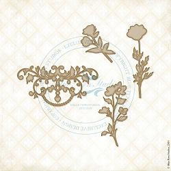 BLUEFERN STUDIO  ECLECTIC CHARM CHIPBOARD FLOURISH FLOWERS