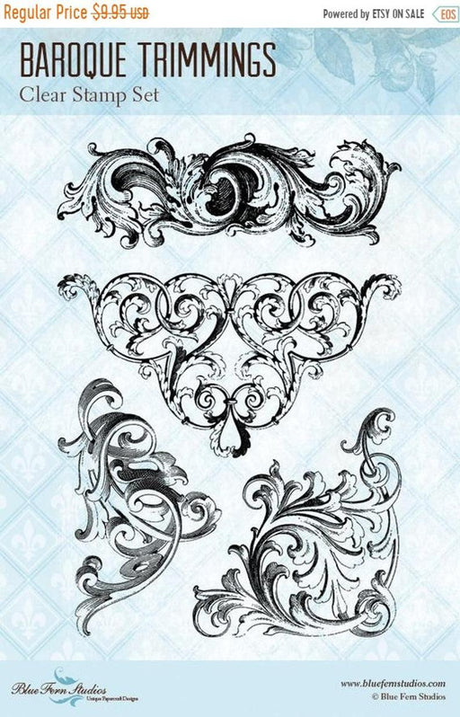 BLUEFERN STUDIO STAMP ROMANTIC LIFE BAROQUE TRIMMINGS