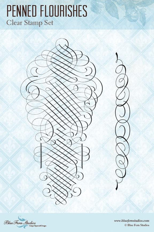 BLUEFERN STUDIO STAMP PENNED FLOURISHES