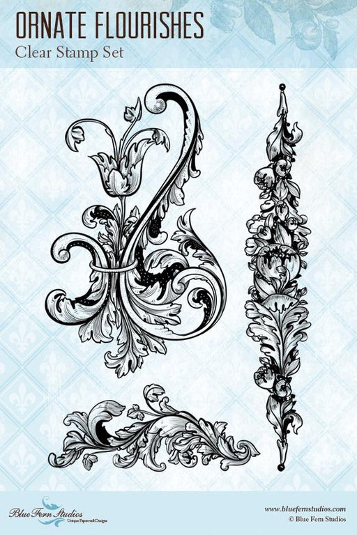 BLUEFERN STUDIO STAMP RADIANCE  ORNATE FLOURISHES