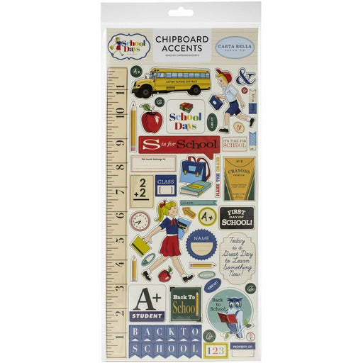 CARTA BELLA  SCHOOL DAYS CHIPBOARD STICKERS