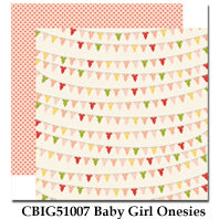 CARTA BELLA  12X12 PAPER ITS A GIRL BABY GIRL ONESIES