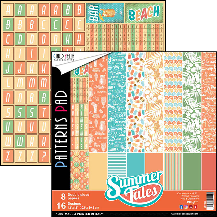 CIAO BELLA 12 X 12  PAPER PAD SUMMER TALES COLLECTION