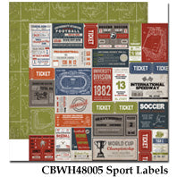 CARTA BELLA  12X12 PAPER WORK PLAY HARD  SPORT LABELS