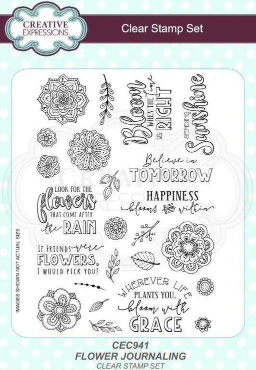 SUE WILSON  FLOWER JOURNALING A5 CLEAR STAMP SET