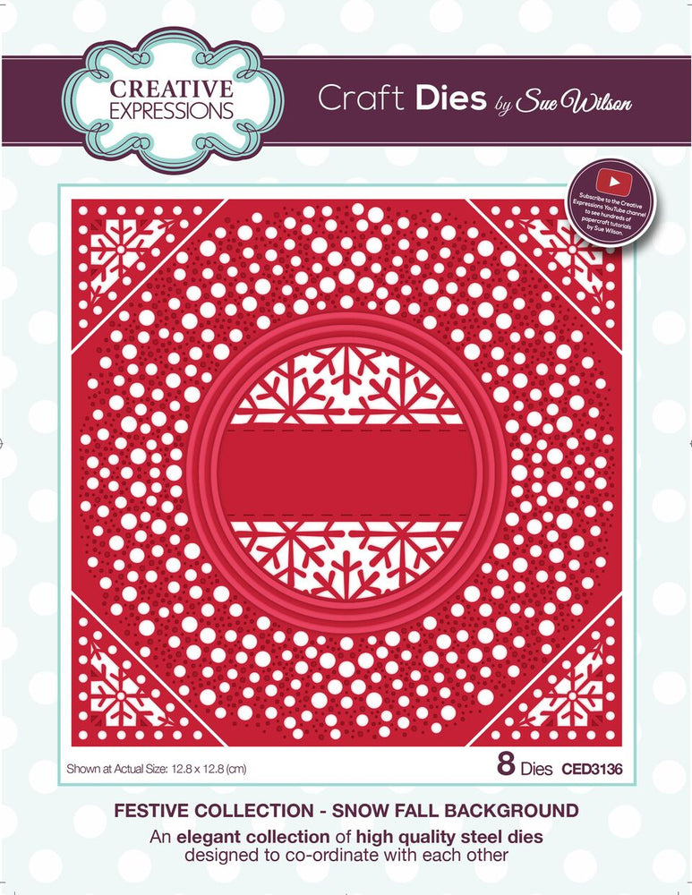 SUE WILSON  FESTIVE  COLLECTION   SNOW FALL BACKGROUND