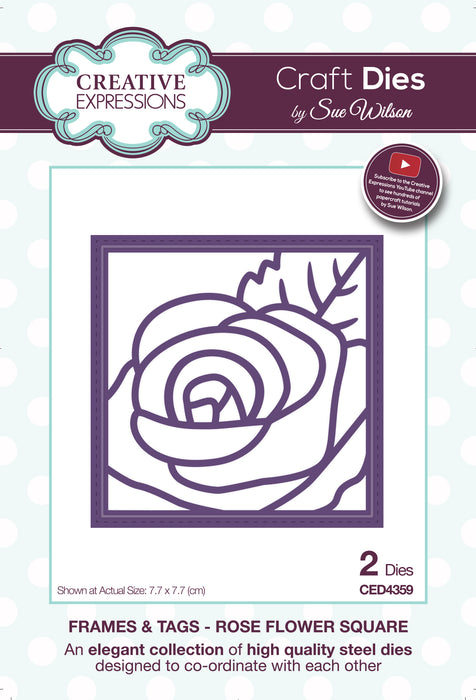SUE WILSON DIES FRAMES TAGS  COLL ROSE FLOWER SQUARE