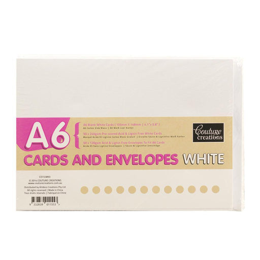 COUTURE CREATIONS A6 CARD & ENV PK 50 WHITE