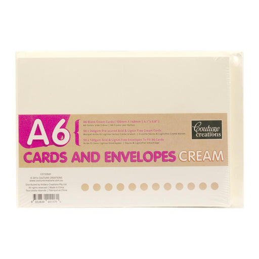 COUTURE CREATIONS A6 CARD & ENV PK 50 CREAM
