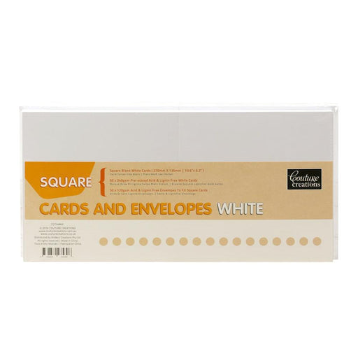 COUTURE 50 X WHITE CARDS & ENVELOPES SQUARE135MM