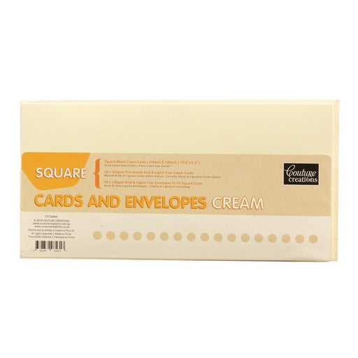 COUTURE 50 X IVORY CARDS & ENVELOPES SQUARE135MM