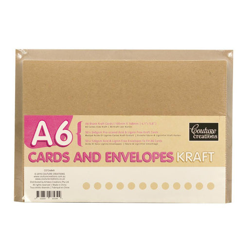 COUTURE A6 BLANK KRAFT CARDS & ENVELOPES X50