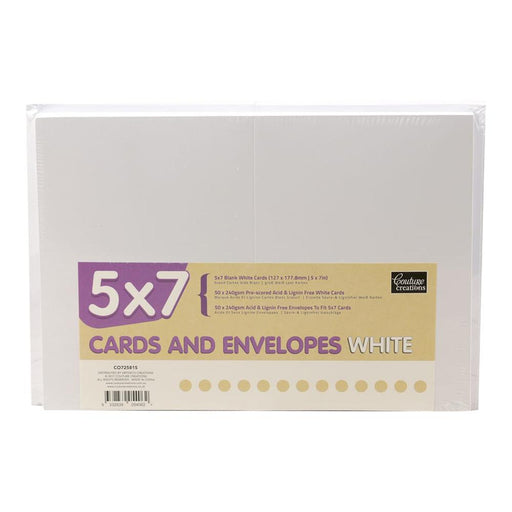 COUTURE CREATIONS 5 X 7  CARD & ENV PK 50 WHITE