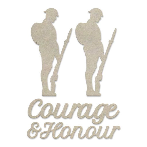 COUTURE CREATION CHIPBOARD LEST WE FORGET COURAGE AND HONOUR