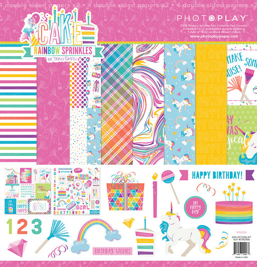 PHOTOPLAY  12 X12 PAPER PACK  CAKE RAINBOW SPRINKLES