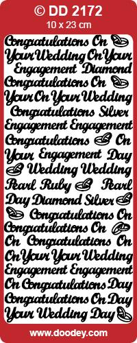 CRAFT STICKER CONGRATS WEDDING/ANNIVERSARY SILVER