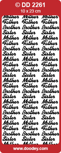 CRAFT STICKER MOTHER FATHER BROTHER SISTER SILVER